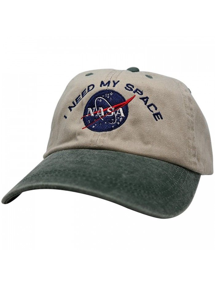 NASA I Need My Space Embroidered Two Tone Pigment Dyed Cotton Cap - Beige  Dk Green - CB12DVNZF3V - Hats   Caps d45d91c1a16e