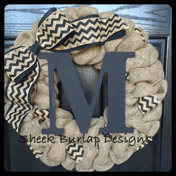 Chevron Burlap Wreath with Initial Front by SheekBurlapDesigns