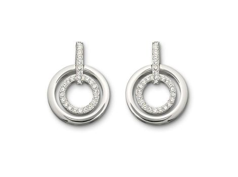 Exquisitely elegant, this classic pair of pierced earrings is a must-have for every jewellery box. The sheen of the rhodium-plated outer ring offsets the glitter of the inner circle embellished with clear crystal pavé. | #thomasjewellers
