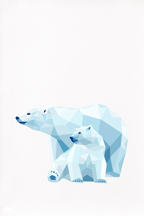Polar Bear and Cub 2, Geometric illustration, Animal print, Original illustration