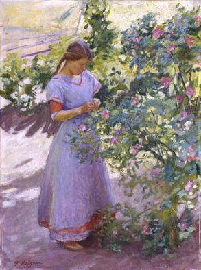 Pekka Halonen , Girl and Rose bush