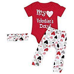 3PCS Infant Baby Girl Boy Valentineu0027s Romper Pants Headband Outfits Set  (0 6 Months