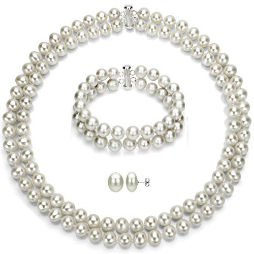 Sterling Silver 2-rows 8-8.5mm White Freshwater Cultured Pearl Necklace, Bracelet