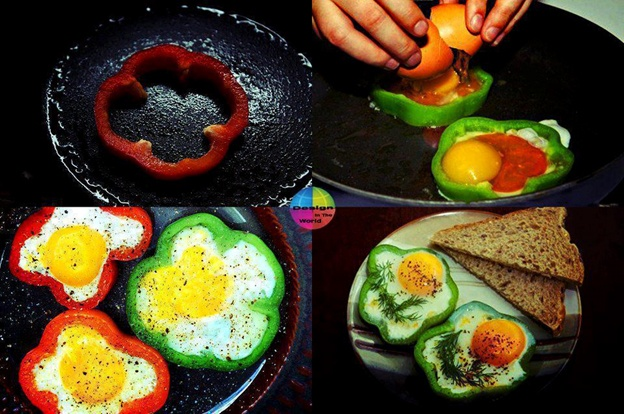 easy delicious breakfast recipe for eggs cooked inside pepper slice rims