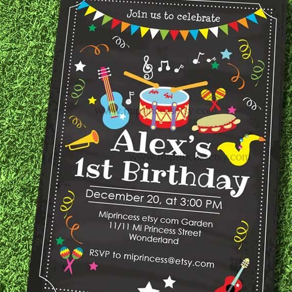 drum music invitation kids birthday invitation guitar boy