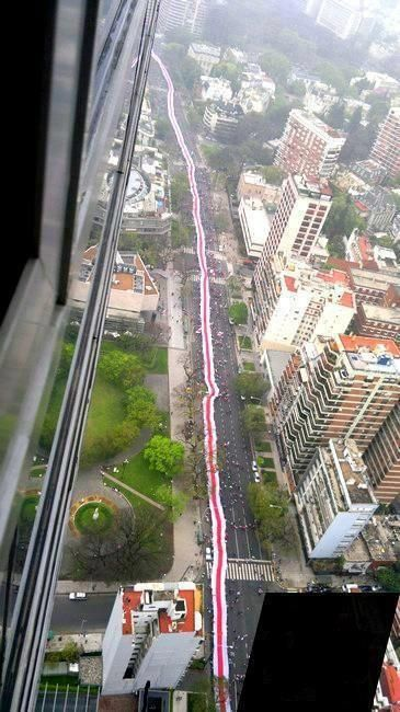 La bandera más grande del mundo. La de River Plate, de 7.829,74 metros.