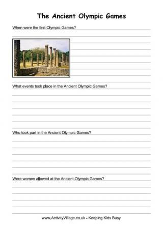 Ancient Olympic Games Worksheets