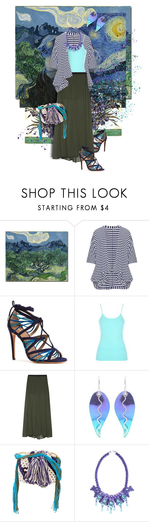 """Summer Night / Van Gogh Inspired"" by valeria-meira ❤ liked on Polyvore featuring Mat, Aquazzura, Enza Costa, Journee Collection, Peter Pilotto, Ek Thongprasert, stripes, maxiskirt, cardigan and strappysandals"