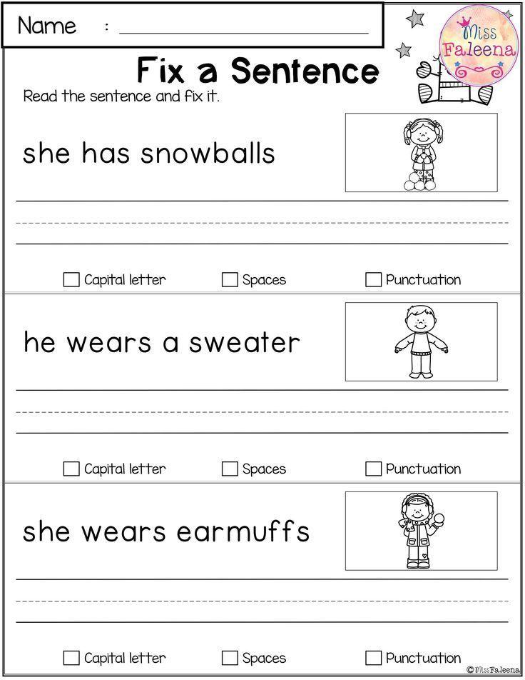 December Reading And Writing Practice Writing Sentences Worksheets,  Writing Sentences Kindergarten, Writing Practice Worksheets