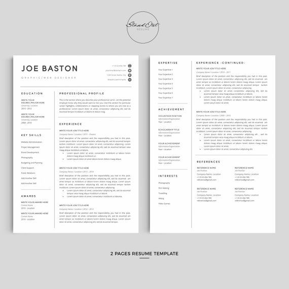 Professional Resume Template For Word Google Docs 123 Etsy Resume Template Cover Letter For Resume Creative Resume Templates