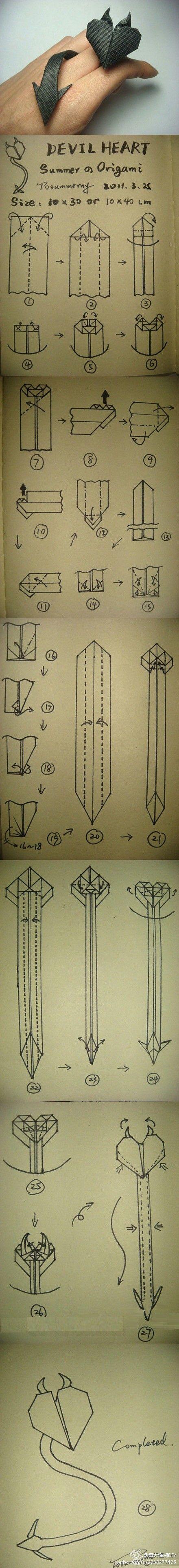 The demons of heart origami - satan devil paper heart art