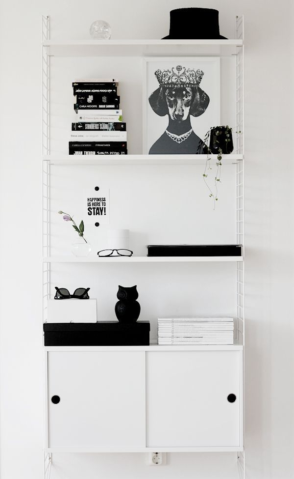 String shelves and cabinet white.
