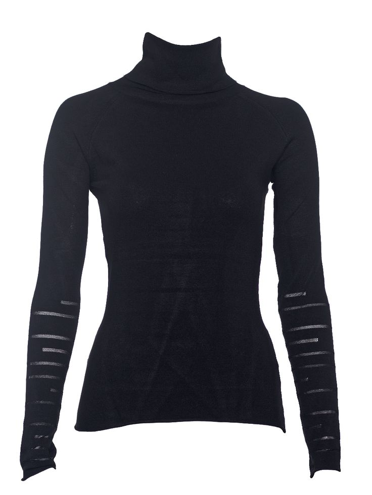 Turtlenech knitted jumper with sheer panels in the sleeves and in the back.