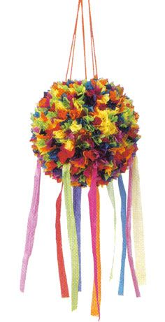 Pinata - could suck it up and make it from a balloon, use primary colors, I like ribbon streamers hanging down