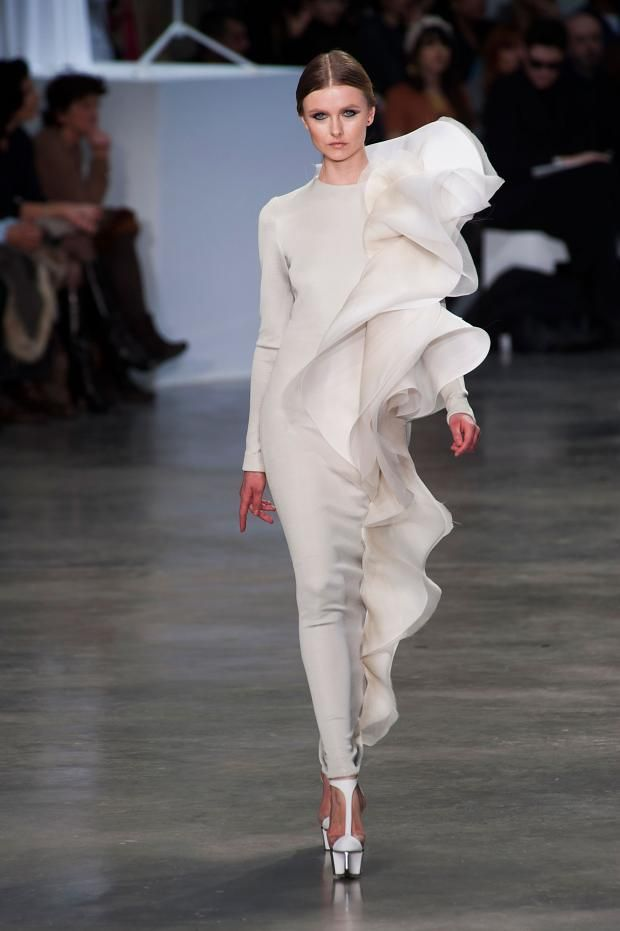 STEPHANE ROLLAND SPRING 2013 COUTURE 2013 long white ruffled sleeve gown dress