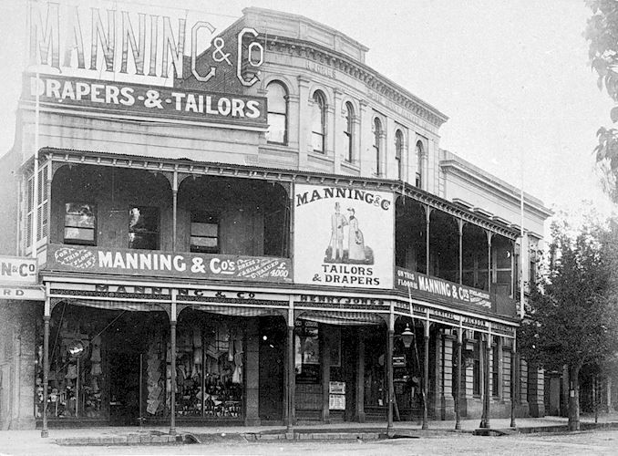 The shop of Manning & Company Drapers & Tailors. View Point, Bendigo, Victoria, Australia, 1890 W H Robinson Studio, 1890