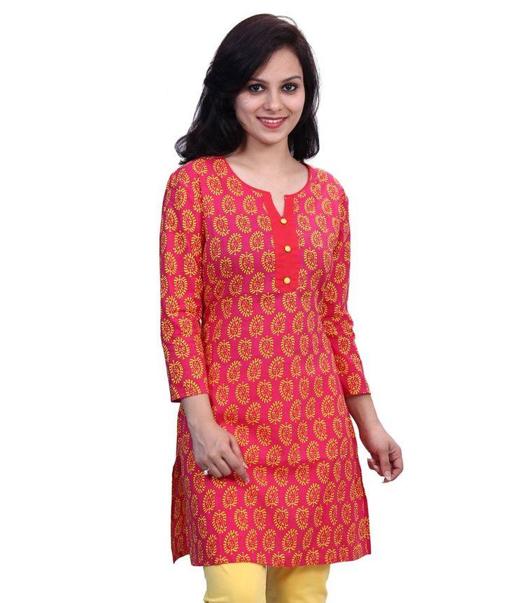 Satrangi Bazar Red Cotton Kurti