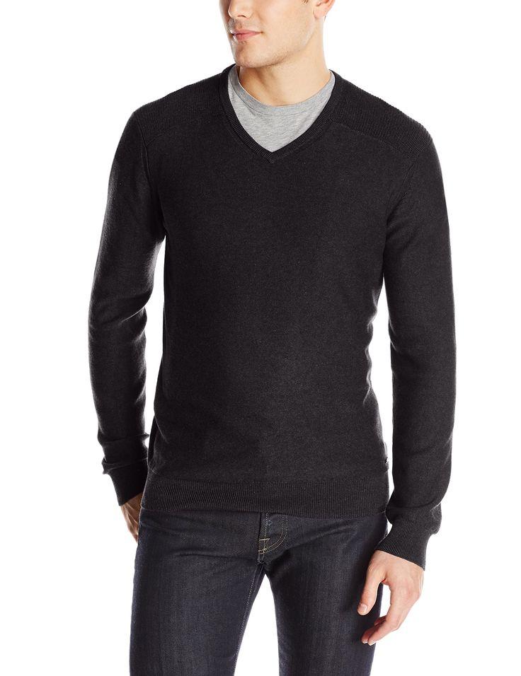 calvin klein jeans men 39 s 12gg slub v neck sweater black. Black Bedroom Furniture Sets. Home Design Ideas