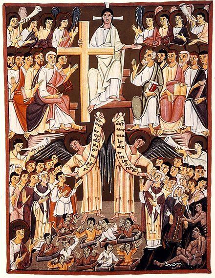 An 1000  le jugement dernier de l'apocalypse de Bamberg manuscrit écrite entre 1000 et 1020