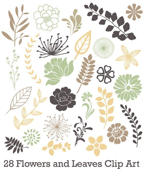 INSTANT DOWNLOAD - 28 Assorted Leaves and Flowers Clip Art for Scrapbooking Cards Commercial Use -  28 Pieces - PNG File - floralset 3