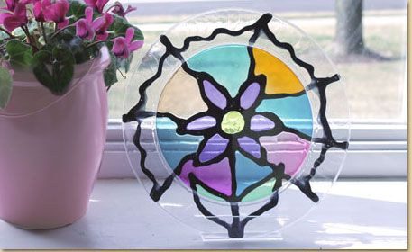 Make A Stained Glass Craft Using A Plastic Plate