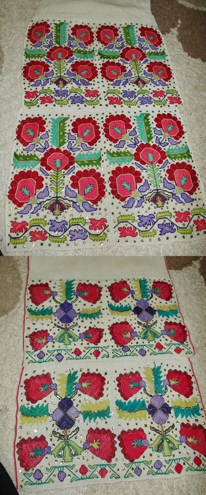 The embroidered ends of two 'uçkur' (waistband) from the Bolu province. First half of 20th century. Stylized vegetable/floral motifs in 'two-sided embroidery' (front and rear are identical) and small squares in 'tel kırma'-technique (geometrical motives obtained by sticking narrow metallic strips through the fabric and folding them. The motifs are identical on both sides of the fabric). Source: 'Antika Osmanlı Tekstil, Istanbul'.