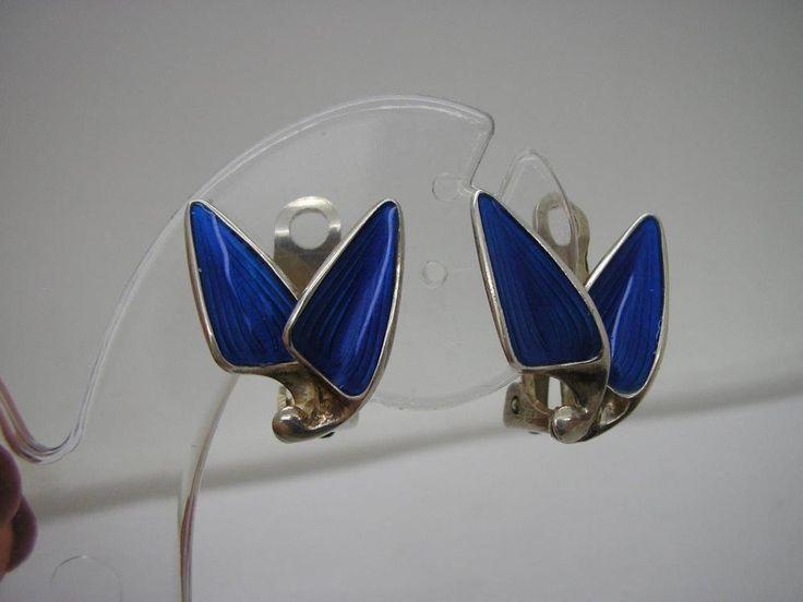 Vintage Sterling Silver & Blue Enamel Clip On Earrings Norway by Einar Modahl