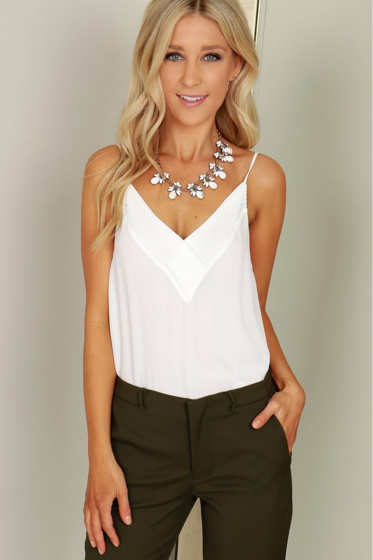 Detailed Tank Top Off White, A simple tank top with a detailed v-cut neckline, v-cut back, and adjustable straps.