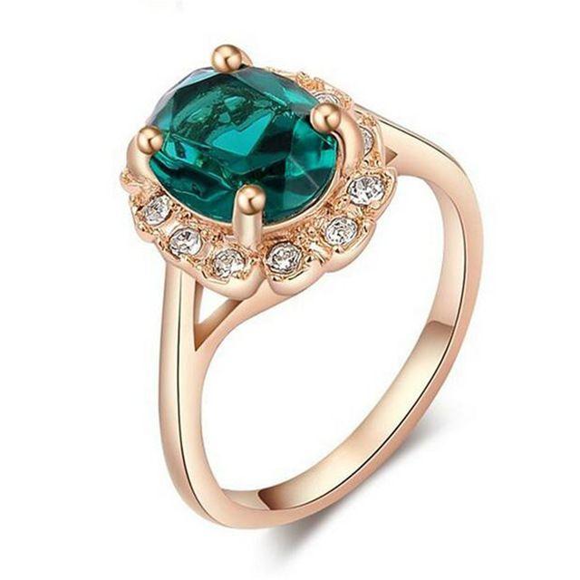Урожай Новая Мода зеленый кристалл женщин из розового золота кольца Для свадебные любовь палец кольца украшения для женщин Подарок KNE20126