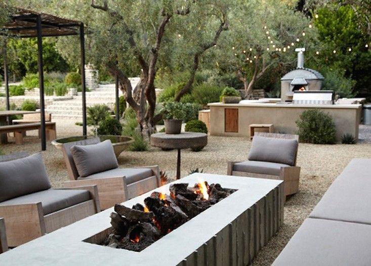 Patrick Dempsey Malibu garden string lights fire pit ; Gardenista