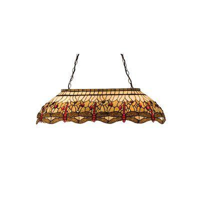 Meyda Tiffany Victorian Tiffany Hanginghead Dragonfly Oblong 6-Light Pool Table Light