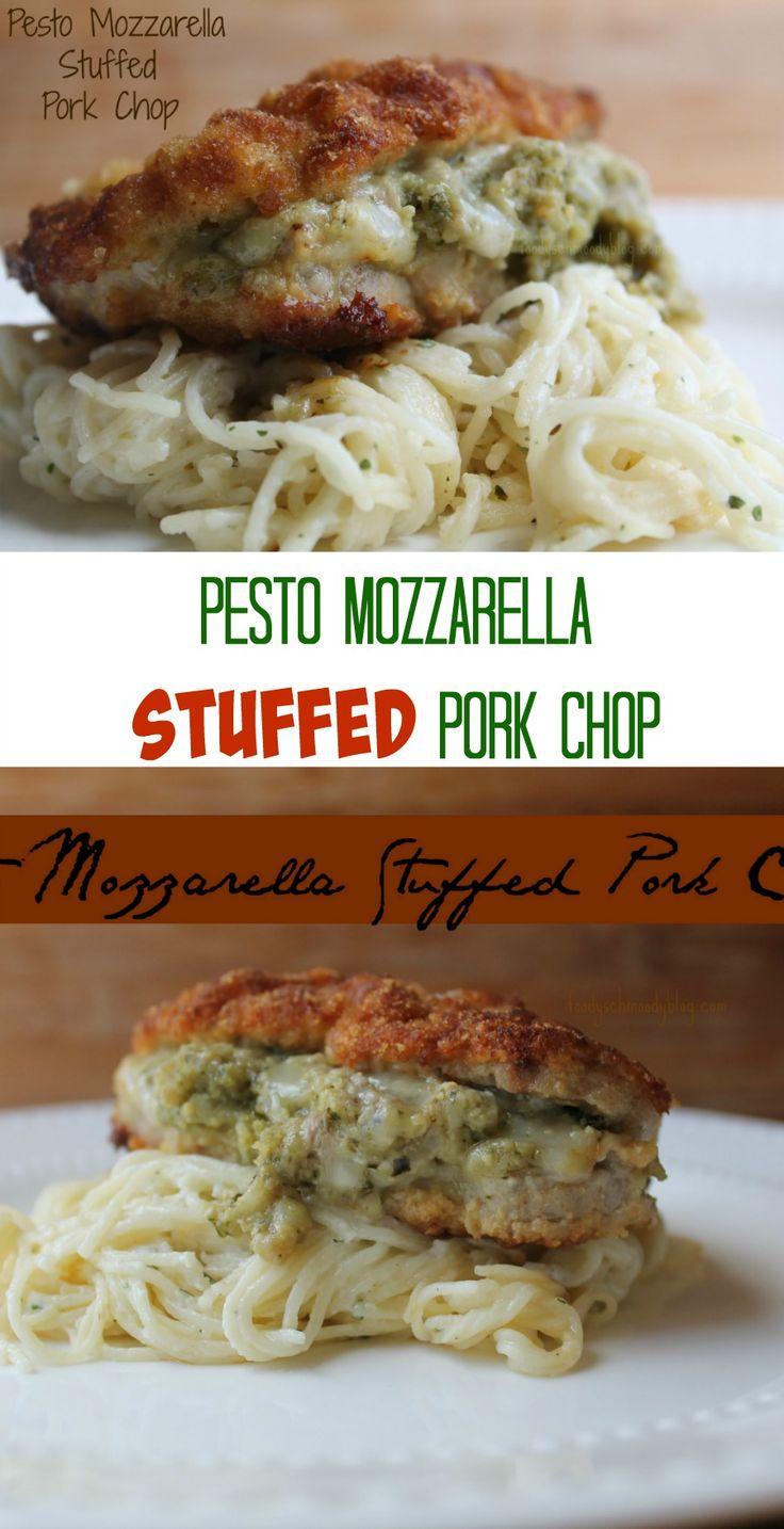Pesto Mozzarella Stuffed Pork Chops | Recipe | Stuffed Pork Chops ...