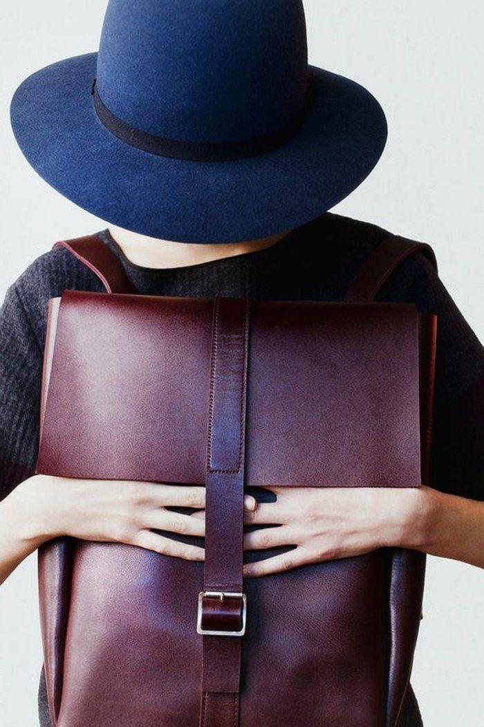 sac a dos college fille, sac à dos femme en cuir rouge foncé
