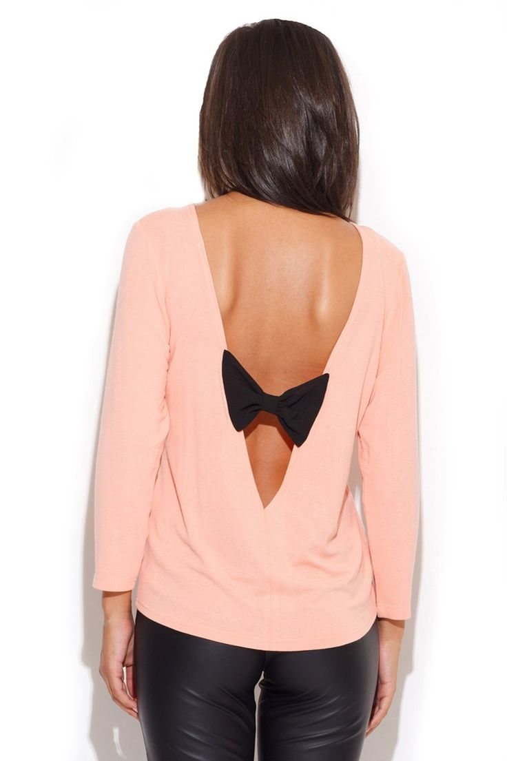Stella blouse pastel pink with bow from LOOKS of LOVE #blouse #sweater #shirt #bow #pink #pastelpink #cute #classy #sexy #elegant #beautiful #fashion #chic #stylish #looksoflove