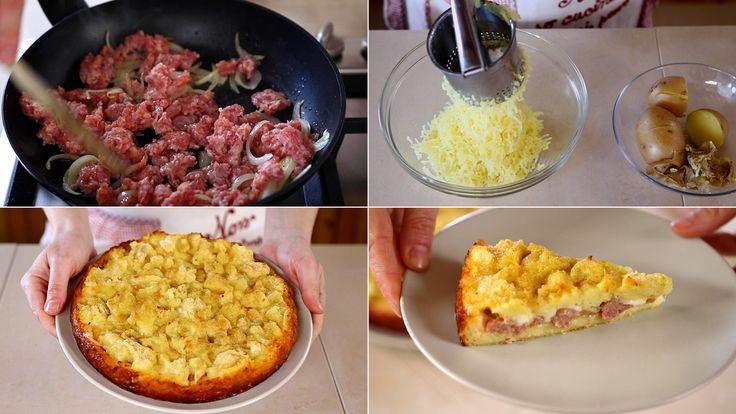Sbriciolata di patate, una torta salata ripiena con salsiccia e formaggio. Un tortino di patate gratinato al forno, ricetta facile