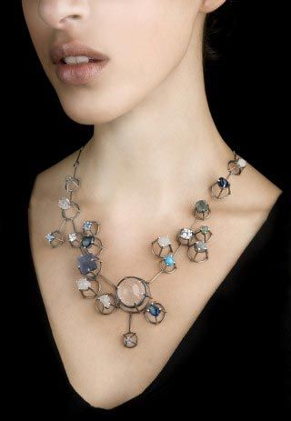Necklace | Joanna Gollberg. Silver with gemstones.