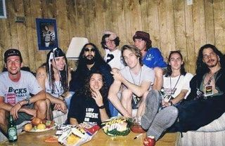 Soundgarden and Pearl Jam backstage at Lollapalooza, 1992