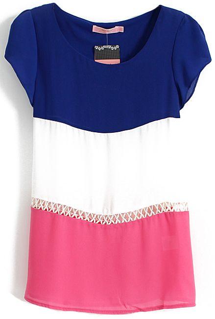 Blue White Red Short Sleeve Hollow Blouse - Sheinside.com