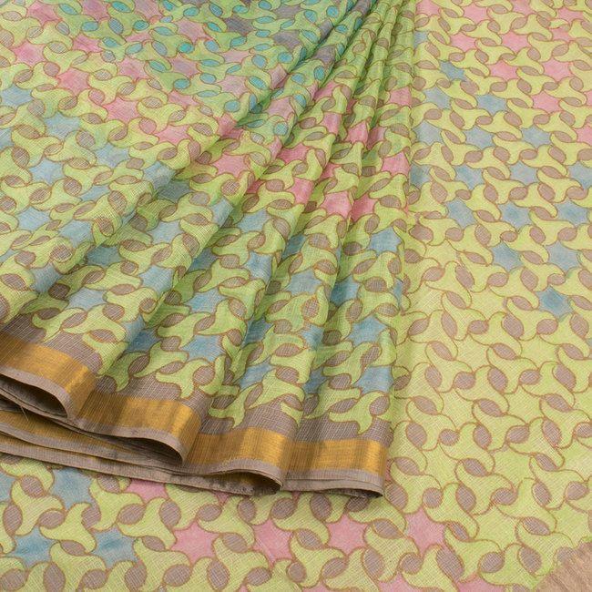 Buy online Hand Block Printed Half and Half Green Kota Silk Saree Without Blouse & Zari Border 10013730