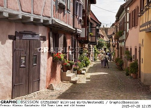 France, Alsace, Eguisheim, Old Town, Lane and old houses