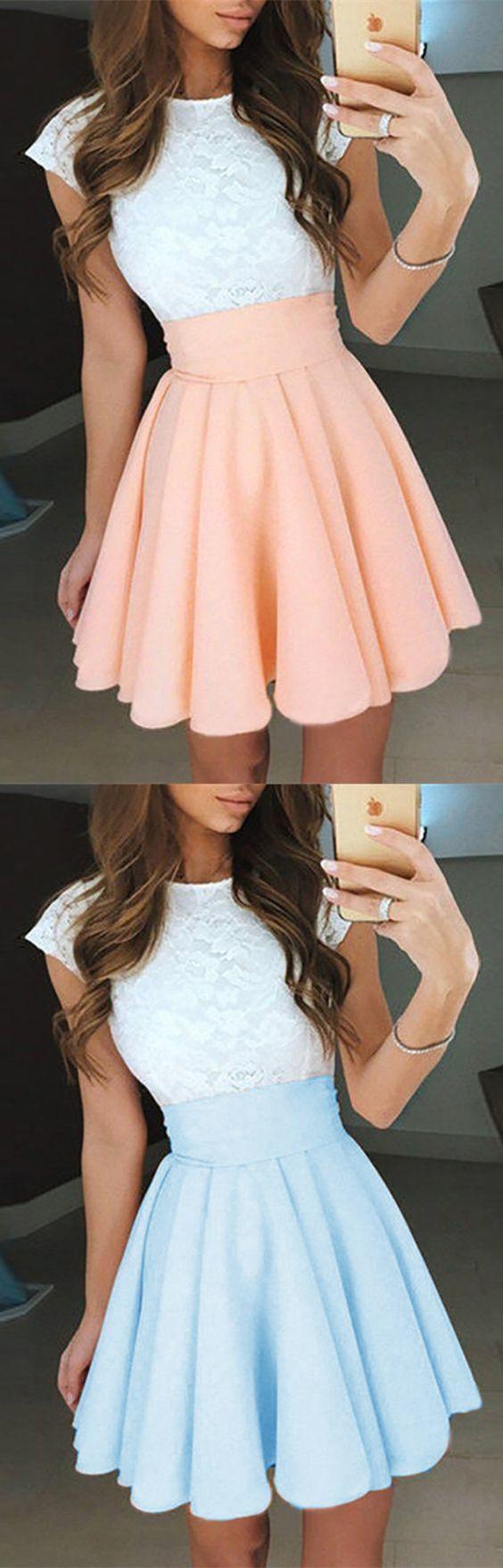 A-Line Jewel Cap Sleeves Perle Rosa Kurzes Kleid für Heimkehr mit Spitze
