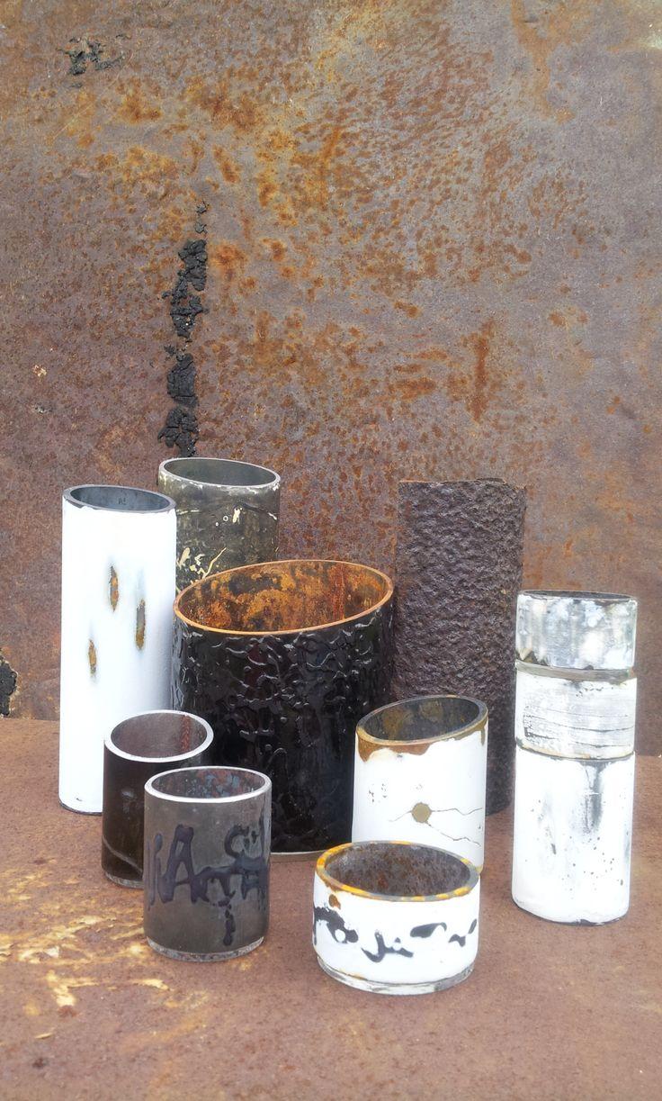 enamelled vessels, steel, glass, mark-making, Cheryl van Goethem