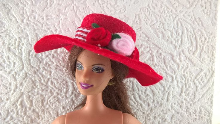 Classy red felt hat for Barbie, decorated with a ribbon and felt flowers. OOAK hand made wide brimmed hat for 12inch fashion doll. by Nobodyknitsitbetter on Etsy