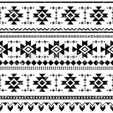 vector naadloze Azteekse sieraad, zwarte grunge etnische patroon op witte…