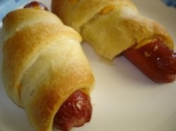 Pigs in a blanket, retro party food.
