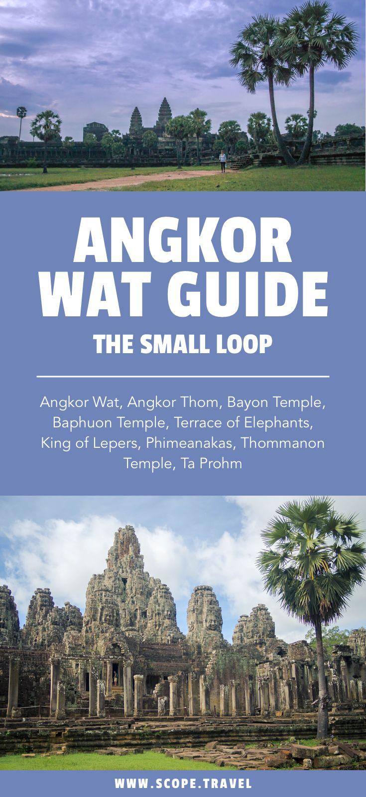 Explore the temples in Siem Reap. The smaller loop is requires less driving in between the various temples. Including Angkor Wat, Angkor Thom, Bayon Temple, Baphuon Temple, Terrace of Elephants, King of Lepers, Phimeanakas, Thommanon Temple, Ta Prohm.