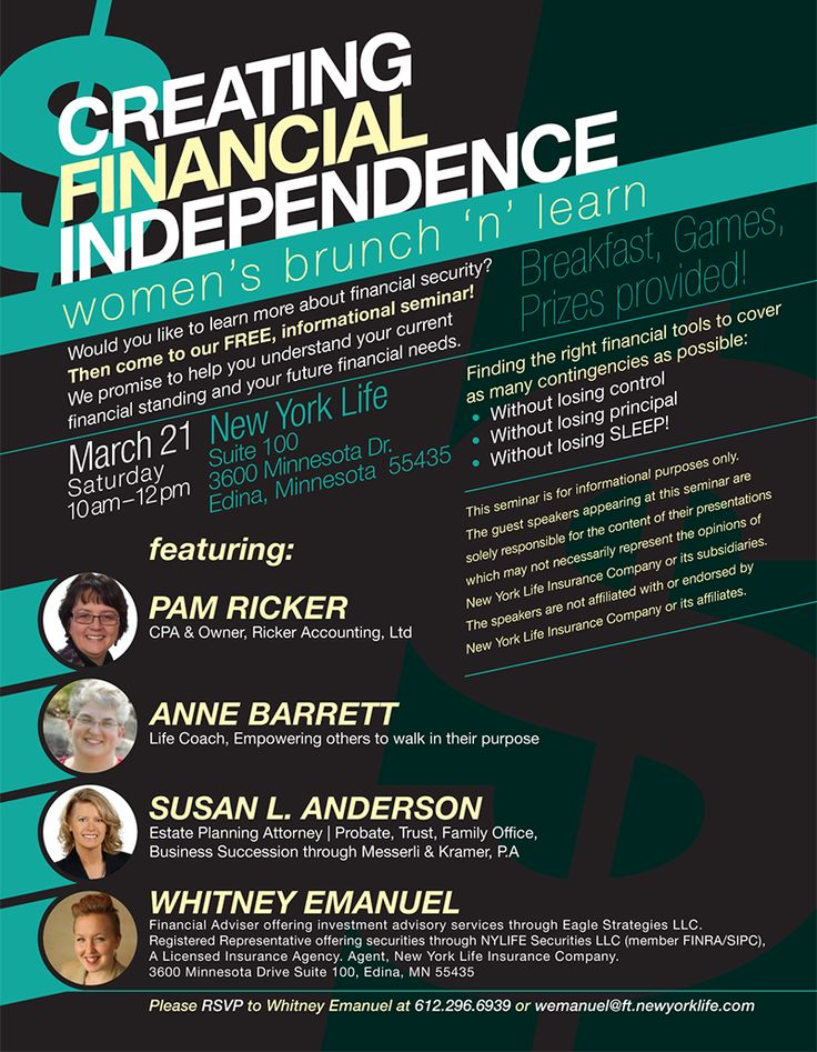 financial independence seminar flyer