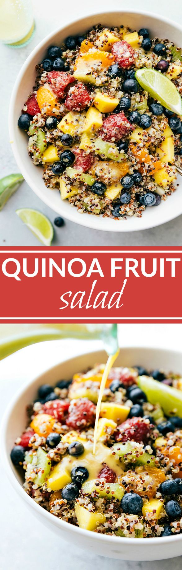 FRUIT QUINOA SALAD! A tri-colored quinoa salad packed with tropical fruits and dressed in a tangy citrus dressing. This salad is vibrant, healthy, and delicious! I Recipe from chelseasmessyapron.com