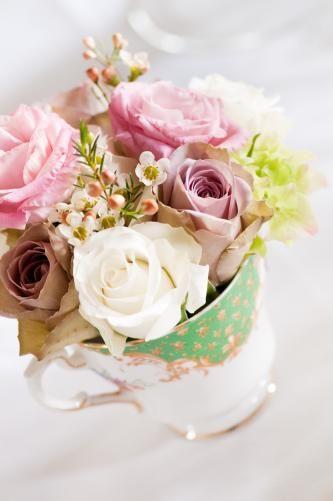 beautiful flowers in vintage tea cup!
