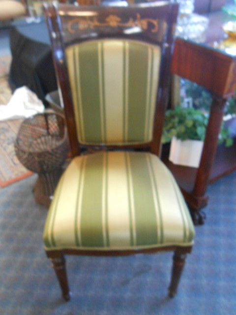 Italian Chairs With Inlay And Gorgeous Upholstery